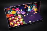 <p>For the inquisitive person in your life, consider an <span><strong>Alice in Wonderland</strong>-themed rose box</span> ($109-$199). The box has a very colorful design featuring Alice as she wanders through the vivid flower forest. It includes either one or two dozen roses in red, yellow, lavender, or rainbow.</p>