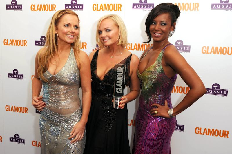 Geri Halliwell, Emma Bunton and Mel B from the Spice Girls at the Glamour Women of the Year Awards after party in Berkeley Square Gardens, central London.