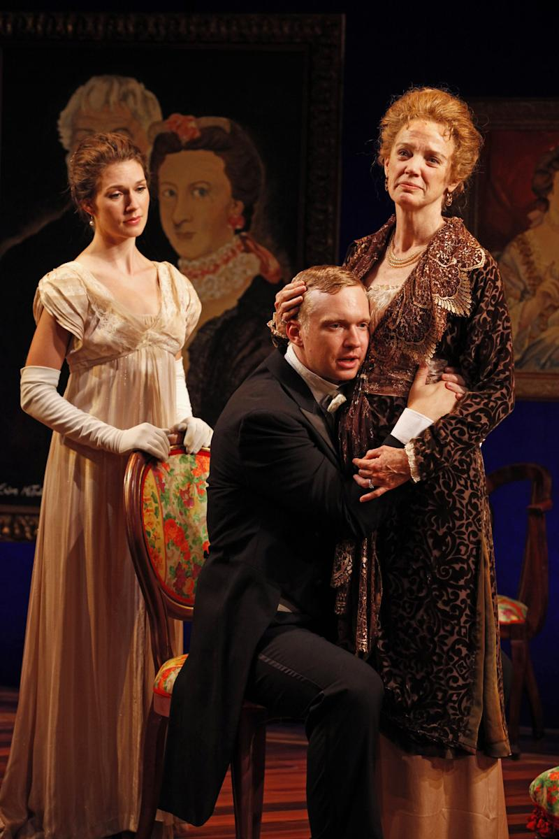 "This theater image released by David Gersten & Associates shows, from left, Janie Brookshire, Roderick Hill and Kristen Griffith, in a scene from ""Mary Broome,"" currently performing off-Broadway at the Mint Theater in New York.  (AP Photo/David Gersten & Associates, Carol Rosegg)"
