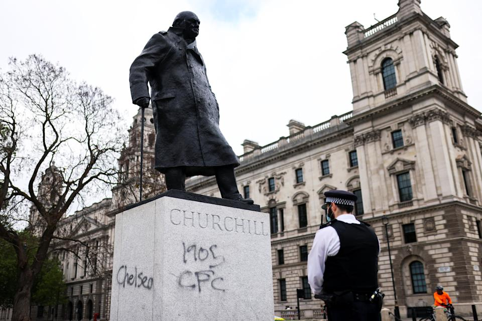 <p>Chelsea graffiti was clearly visible on the Winston Churchill statue </p> (REUTERS)