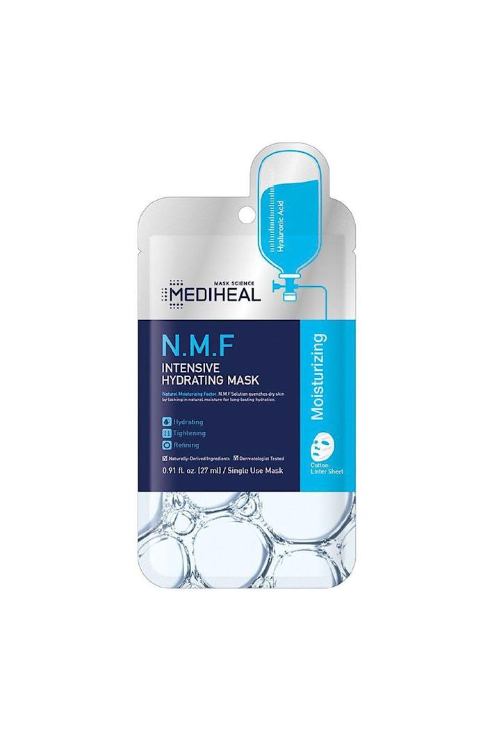 """<p><strong>Mediheal</strong></p><p>amazon.com</p><p><strong>$9.95</strong></p><p><a href=""""https://www.amazon.com/dp/B07T74SKPQ?tag=syn-yahoo-20&ascsubtag=%5Bartid%7C10051.g.28721100%5Bsrc%7Cyahoo-us"""" rel=""""nofollow noopener"""" target=""""_blank"""" data-ylk=""""slk:Shop Now"""" class=""""link rapid-noclick-resp"""">Shop Now</a></p><p>Office air conditioning can be a point of contention, but it's also a major risk to your skin. It can dry it out, which in turn can make it age faster or make it irritated and itchy. That's why a regular sheet mask regimen, especially using Mediheal's beloved N.M.F. Intensive Hydrating Mask, is a godsend.</p>"""