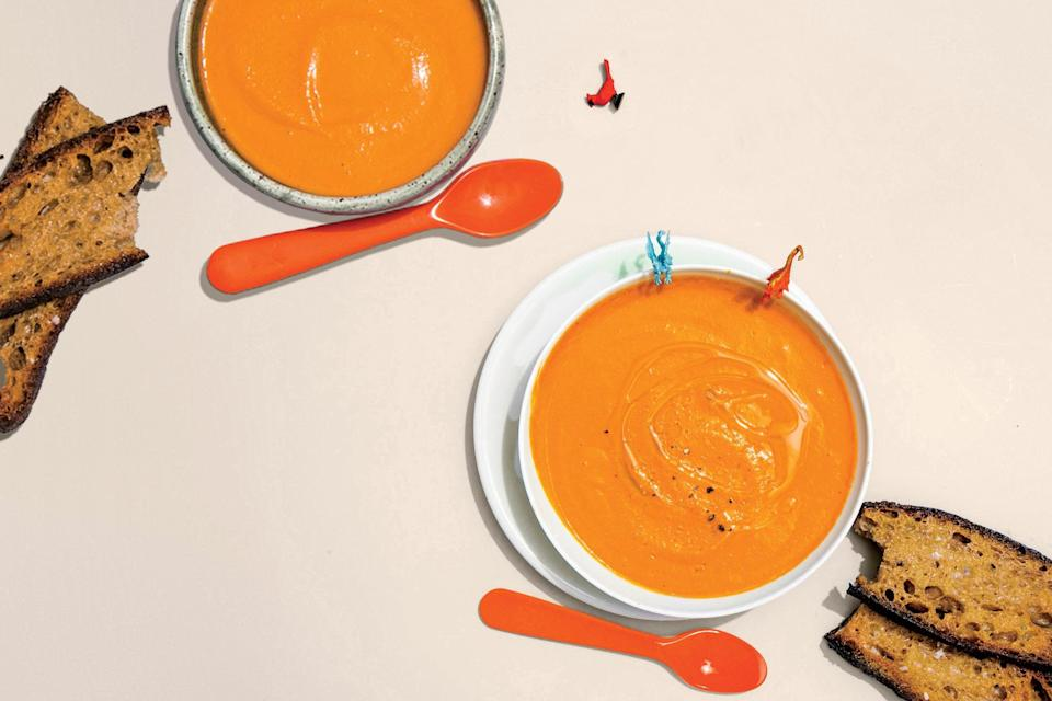 """Fennel adds a touch of vegetal sweetness and anise fragrance to this simple variation on tomato soup. <a href=""""https://www.epicurious.com/recipes/food/views/carlas-tomato-soup?mbid=synd_yahoo_rss"""" rel=""""nofollow noopener"""" target=""""_blank"""" data-ylk=""""slk:See recipe."""" class=""""link rapid-noclick-resp"""">See recipe.</a>"""