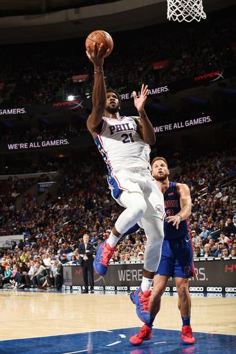 PHILADELPHIA, PA - NOVEMBER 3: Joel Embiid #21 of the Philadelphia 76ers shoots the ball against the Detroit Pistons on November 3, 2018 at the Wells Fargo Center in Philadelphia, Pennsylvania (Photo by David Dow/NBAE via Getty Images)