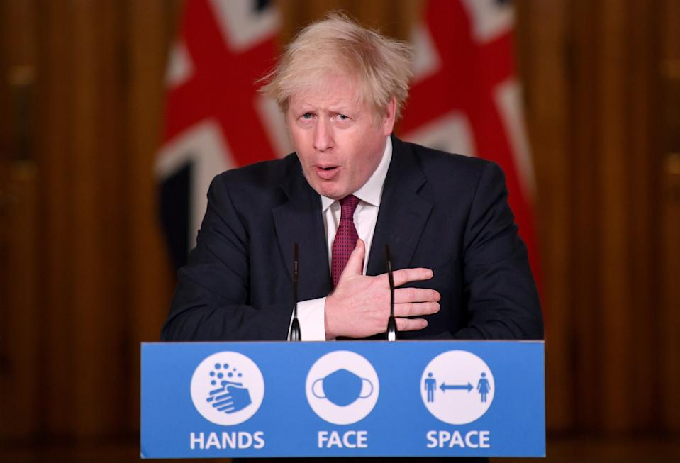 Prime Minister Boris Johnson speaks during a news conference in response to the ongoing situation with the Covid-19 pandemic, at 10 Downing Street, London.
