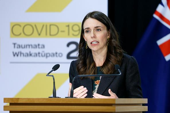 Prime Minister Jacinda Ardern speaks to media during a press conference at Parliament in Wellington, New Zealand.