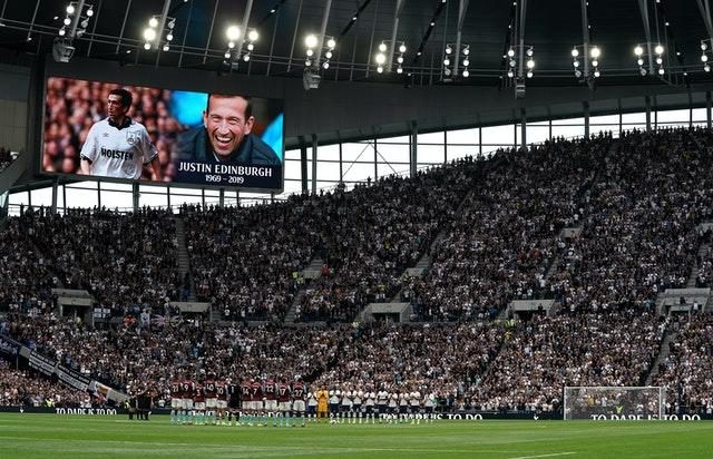 Spurs paid tribute to the late Justin Edinburgh at their home game with Aston Villa last season