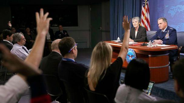 PHOTO: Journalist raise their hands during a news briefing by Gen. David L. Goldfein, far right, Chief of Staff of the U.S. Air Force and Air Force Secretary Heather Wilson at the Pentagon, Nov. 9, 2017. (Pablo Martinez Monsivais/AP)