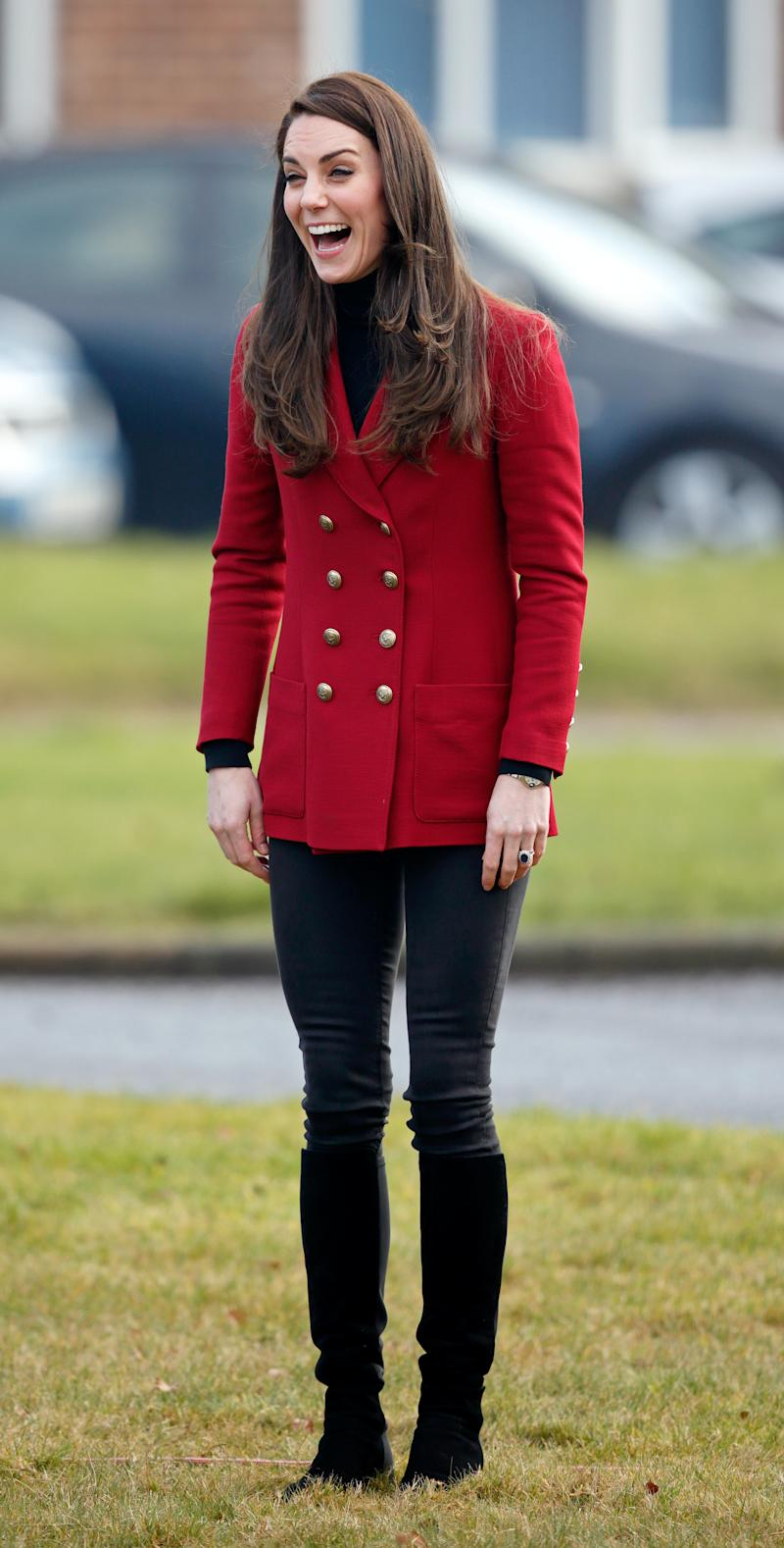 STAMFORD, UNITED KINGDOM - FEBRUARY 14: (EMBARGOED FOR PUBLICATION IN UK NEWSPAPERS UNTIL 48 HOURS AFTER CREATE DATE AND TIME) Catherine, Duchess of Cambridge joins in with a team building exercise during a visit to RAF Wittering to meet air cadets taking part in a half-term skills development camp on February 14, 2017 in Stamford, England. The Duchess of Cambridge is Royal Patron and Honorary Air Commandant of the Air Cadet Organisation. (Photo by Max Mumby/Indigo/Getty Images)