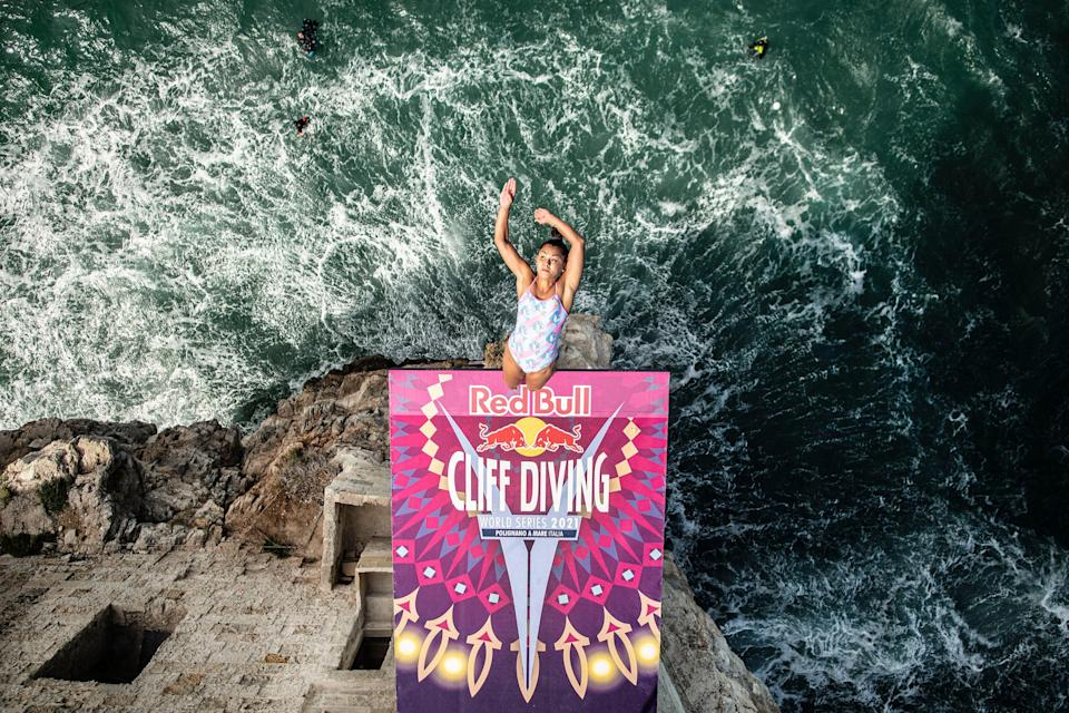 Australian Xantheia Pennisi dives from the 21 meter platform during the Red Bull Cliff Diving World Series in Polignano a Mare, Italy.