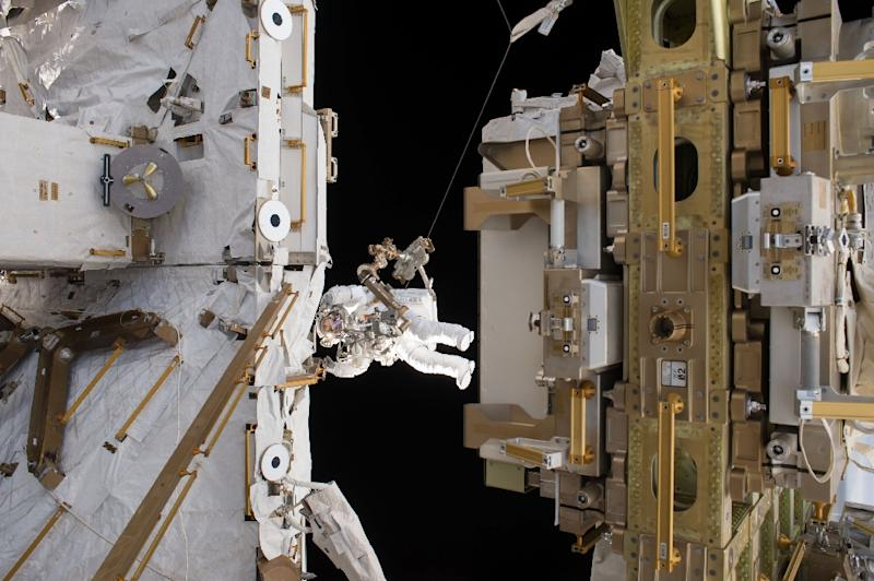 This NASA handout photo obtained March 29, 2017 shows Flight Engineer Thomas Pesquet of the European Space Agency floating outside the International Space Station during a spacewalk