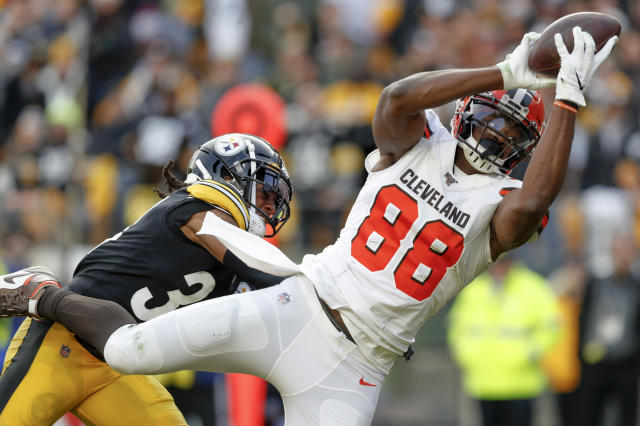 Cleveland Browns tight end Demetrius Harris (88) tries for a catch in front of Pittsburgh Steelers strong safety Terrell Edmunds (34) during the second half of an NFL football game, Sunday, Dec. 1, 2019, in Pittsburgh. Harris dropped the ball when he hit the ground for an incomplete pass. (AP Photo/Don Wright)