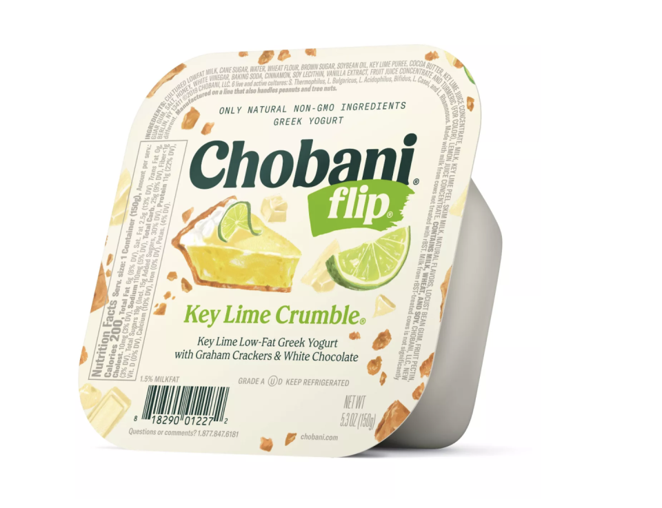 """<p>Chobani Flips aren't your every day yogurt, but the dessert-inspired flavors are great when you want something sweet. These come in key lime, cookie dough, cinnamon bun, and more. </p><p><a class=""""link rapid-noclick-resp"""" href=""""https://www.target.com/p/chobani-flip-key-lime-crumble-low-fat-greek-yogurt-5-3oz/-/A-14990487"""" rel=""""nofollow noopener"""" target=""""_blank"""" data-ylk=""""slk:BUY NOW""""><em>BUY NOW</em></a> <em><strong>Chobani Flip, $1.50, target.com</strong></em></p>"""