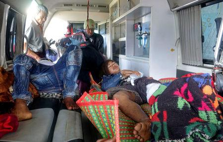 Rakhine State residents arrive at the hospital in Sittwe