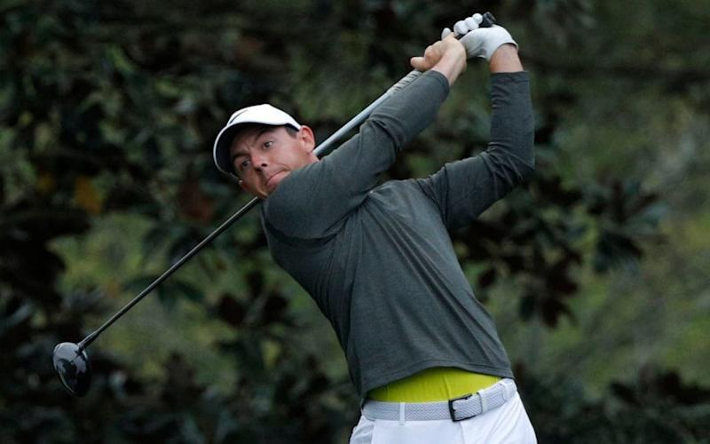 Rory McIlroy of Northern Ireland practices at Augusta ahead of the first day of the Masters - REUTERS
