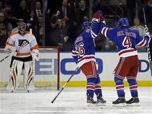 New York Rangers center Benn Ferriero (36) and defenseman Michael Del Zotto (4) celebrate Del Zotto's goal in the first period of their NHL hockey game against the Philadelphia Flyers at Madison Square Garden in New York, Tuesday, Jan. 29, 2013. Flyers goalie Ilya Bryzgalov (30) watches at left. (AP Photo/Kathy Willens)