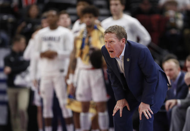 Gonzaga coach Mark Few stands along the sideline during the first half of a first-round game against Fairleigh Dickinson in the NCAA mens college basketball tournament Thursday, March 21, 2019, in Salt Lake City. (AP Photo/Jeff Swinger)