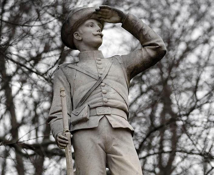 "The Confederate soldier monument at the University of Mississippi in Oxford, Miss., in 2019. <span class=""copyright"">(Rogelio V. Solis / Associated Press)</span>"