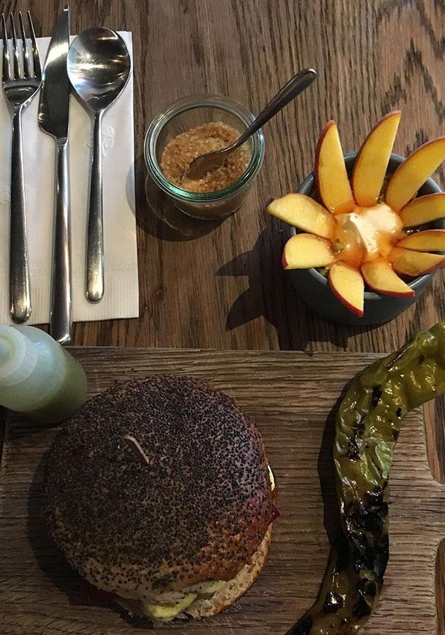 We tried the Hickory Sanga with pour-it-yourself gherkin mayo. Photo: Carly Williams Yahoo7 Be
