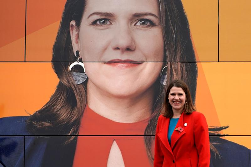 Liberal Democrat Leader Jo Swinson poses for photographs by the Liberal Democrat election bus: EPA