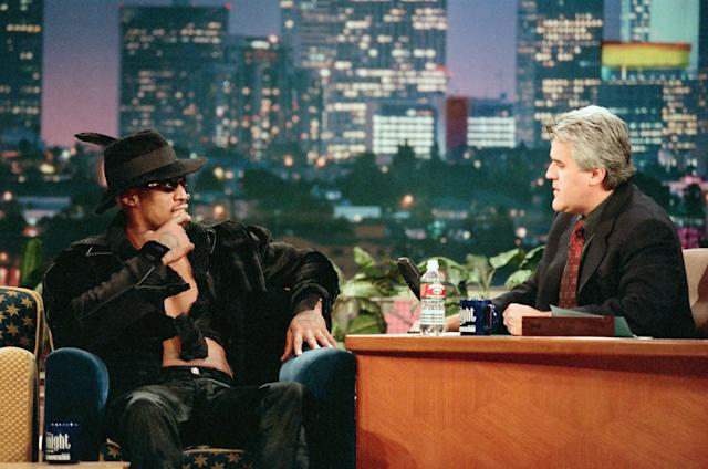 Dennis Rodman is interviewed on 'The Tonight Show with Jay Leno' on Oct. 16, 1998. (Photo by: Margaret Norton/NBCU Photo Bank/NBCUniversal via Getty Images via Getty Images)