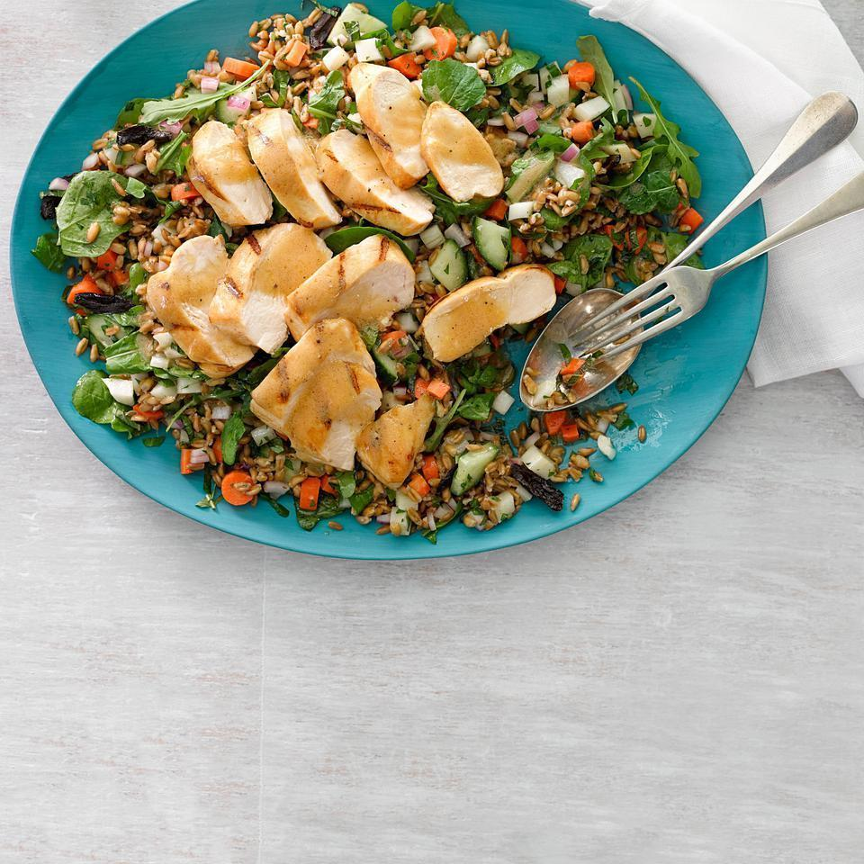 <p>With tons of fresh herbs, arugula, olives and farro, this healthy chicken salad recipe makes a wonderful potluck platter or healthy dinner. We love the nutty flavor and quick cooking time of farro but other whole grains, such as freekeh, bulgur or couscous, are also good choices.</p>