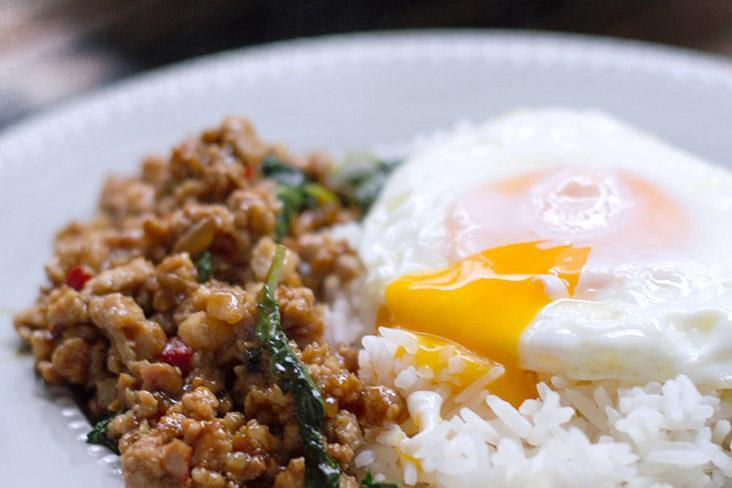 Nothing beats a 'khai dao' or basic fried egg, especially served over white rice and 'krapao moo' (holy basil stir fry with pork).