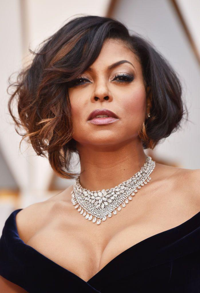"""<p>Actress <strong>Taraji P. Henson</strong>'s short tousled tresses give off a romantic air. The bias cut helps to show off her <a href=""""https://www.goodhousekeeping.com/beauty/hair/g5063/hair-color-highlights/"""" rel=""""nofollow noopener"""" target=""""_blank"""" data-ylk=""""slk:highlights"""" class=""""link rapid-noclick-resp"""">highlights</a> and draws attention to her collarbone. </p>"""