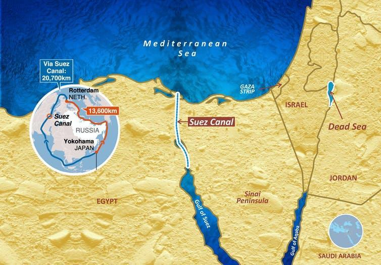 Locator map showing position of the Suez canal connecting the Mediterranean Sea to the Red Sea.