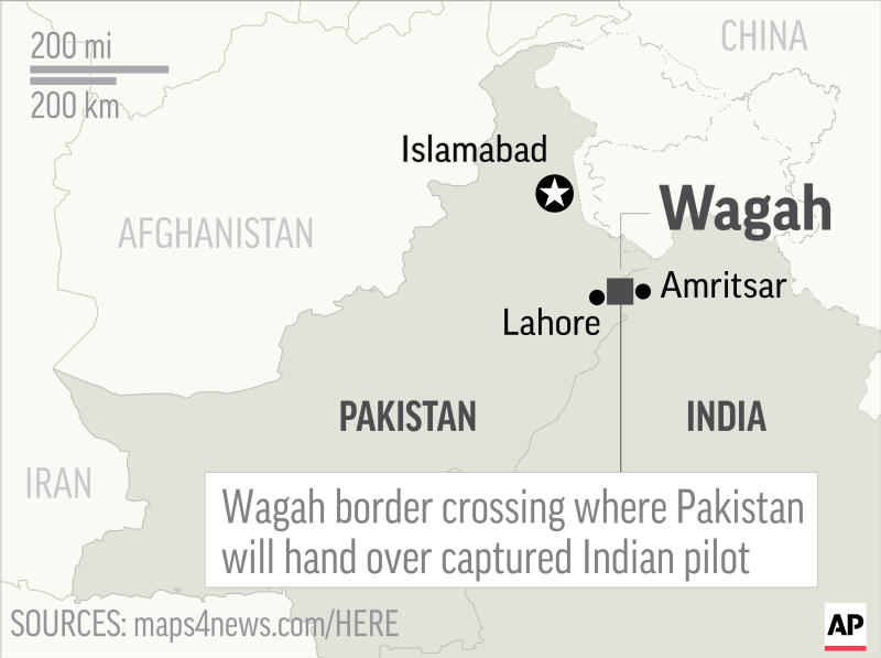Map locates Wagah border crossing between Pakistan and India, where Pakistan will hand over captured Indian pilot; 2c x 2 1/2 inches; 96.3 mm x 63 mm;