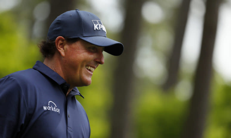 A closeup of Phil Mickelson.