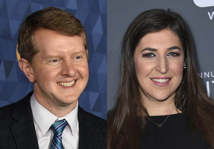 """Ken Jennings appears at the 2020 ABC Television Critics Association Winter Press Tour in Pasadena, Calif., on Jan. 8, 2020, left, and actress Mayim Bialik appears at the 23rd annual Critics' Choice Awards in Santa Monica, Calif., on Jan. 11, 2018. Jennings and Bialik will split """"Jeopardy!"""" hosting duties for the remainder of the game show's 38th season. (AP Photo)"""