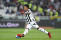 Juventus' Weston McKennie goes for the ball during the Serie A soccer match between Juventus and Torino, at the Turin Olympic stadium, Italy, Saturday, Oct. 2, 2021. (Spada/LaPresse via AP)