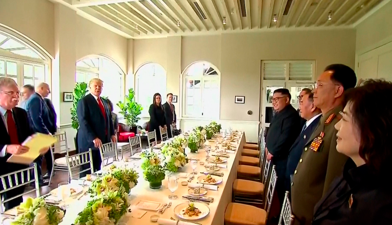 The two delegations prepare to sit down for lunch (Picture: PA)