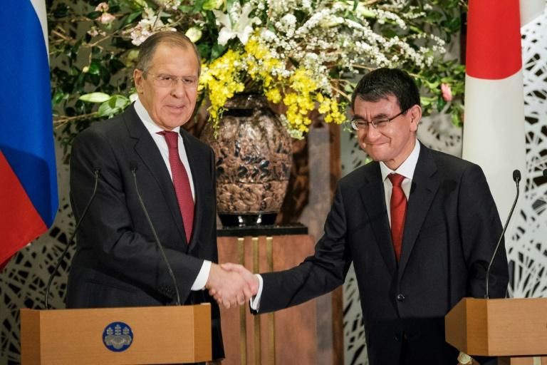 Japan's Foreign Affairs Minister Taro Kono, right, discussed a range of issues with his Russian counterpart Sergei Lavrov, including the spy poisoning in Britain and North Korea