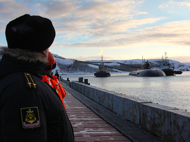 Arrival of the Northern Fleet nuclear submarine Oryol in the permanent base in Murmansk Russia