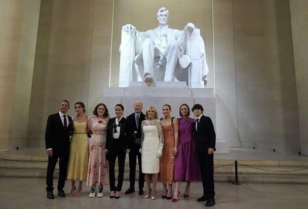 PHOTO: President Joe Biden, first lady Jill Biden and their family pose at the Lincoln Memorial where the president participated in a televised ceremony, Jan. 20, 2021, in Washington, D.C. (Joshua Roberts-Pool/Getty Images)