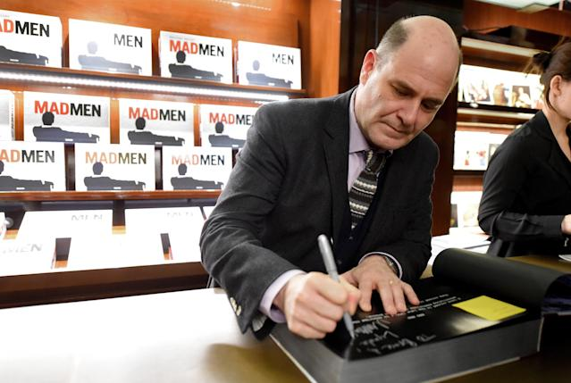 """Mad Men"" creator and writer Matthew Weiner signs his book about the show in Beverly Hills on Feb. 23. (Frazer Harrison via Getty Images)"