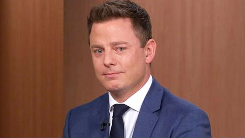 A photo of Today show's Ben Fordham tearing up on set.