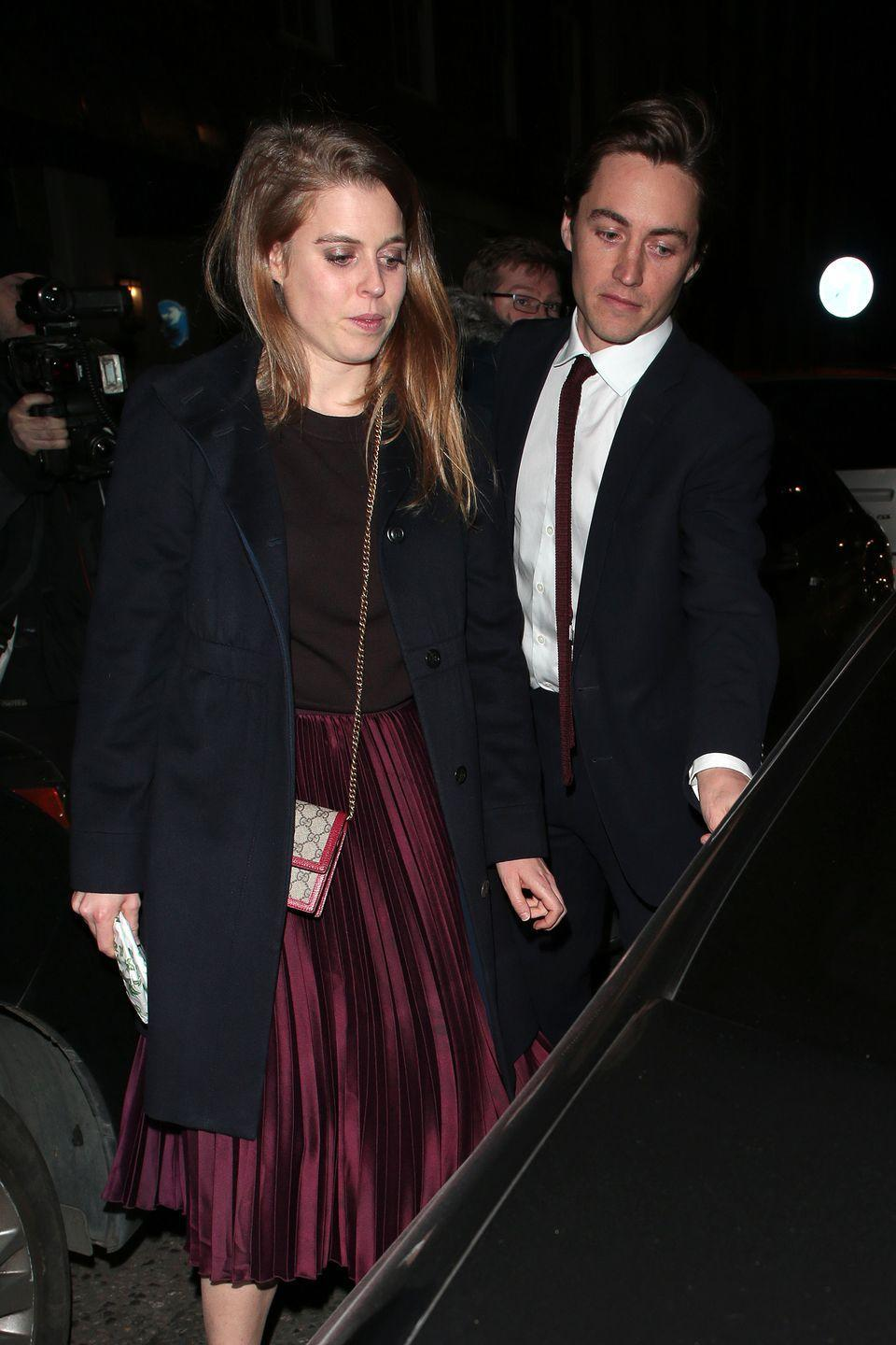 <p>Edo opened the car door for Beatrice after they shared a meal together at 34 Restaurant in London.</p>