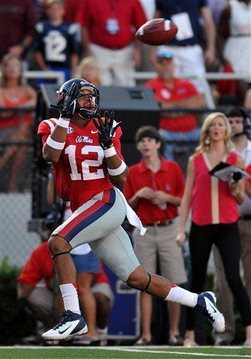 Mississippi wide receiver Donte Moncrief (12) makes a touchdown catch in the first quarter of an NCAA college football game against UTEP on Saturday, Sept. 8, 2012, in Oxford, Miss. (AP Photo/The Oxford Eagle, Bruce Newman)