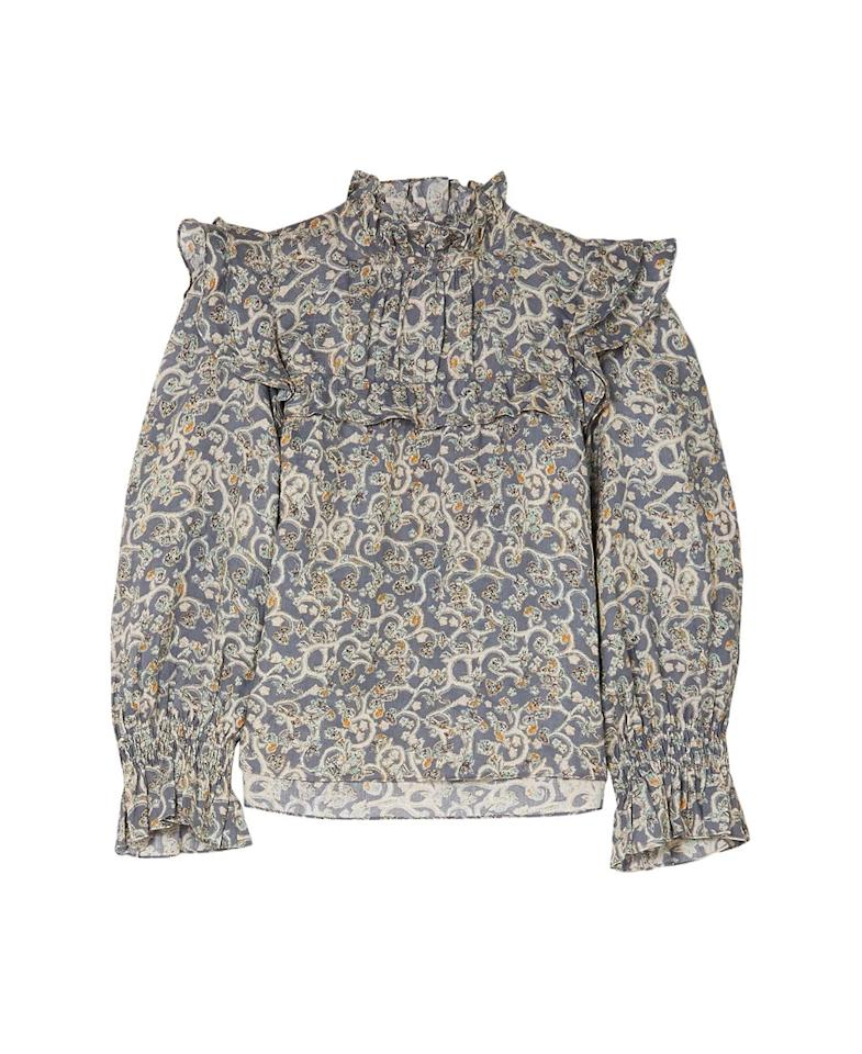 "$448, The Outnet. <a href=""https://www.theoutnet.com/en-us/shop/product/isabel-marant-etoile/tops/long-sleeved-top/ted-ruffled-printed-linen-blouse/7600457660124894"">Get it now!</a>"