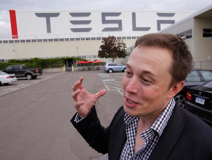 Tesla CEO Elon Musk unveils what was then the new Tesla factory in Fremont, California, on Wednesday, Oct. 27, 2010.