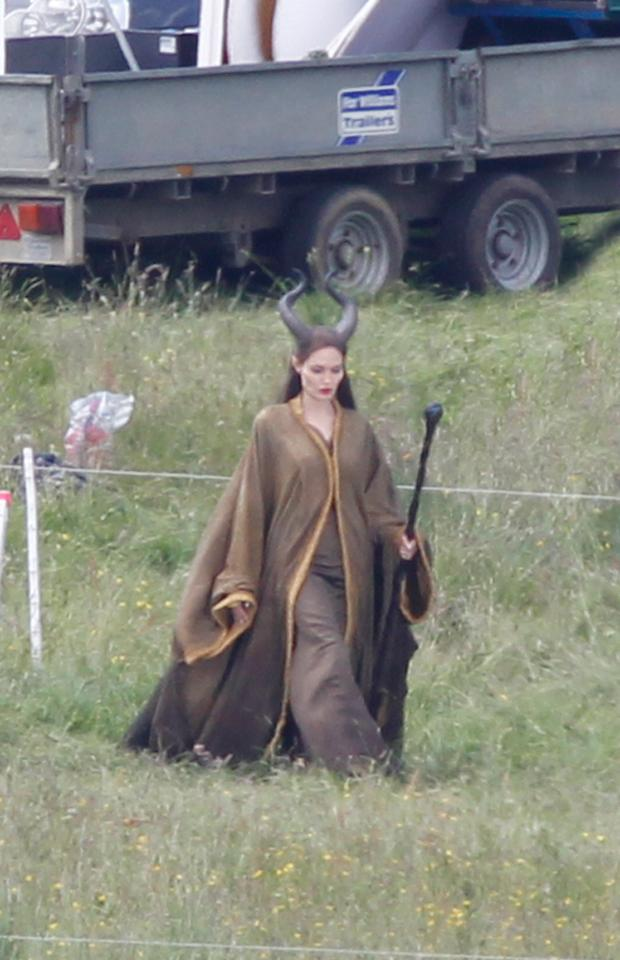 Angelina Jolie on the set of her latest film 'Maleficent'. The Disney film is based on the 'Sleeping Beauty' tale and is told from the perspective of the princess's evil nemesis, Maleficent