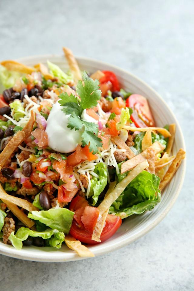"""<p>Try a healthier twist on Taco Tuesdays.</p><p>Get the recipe from <a rel=""""nofollow"""" href=""""http://www.delish.com/cooking/recipe-ideas/recipes/a48351/beef-taco-salad-recipe/"""">Delish</a>.</p>"""