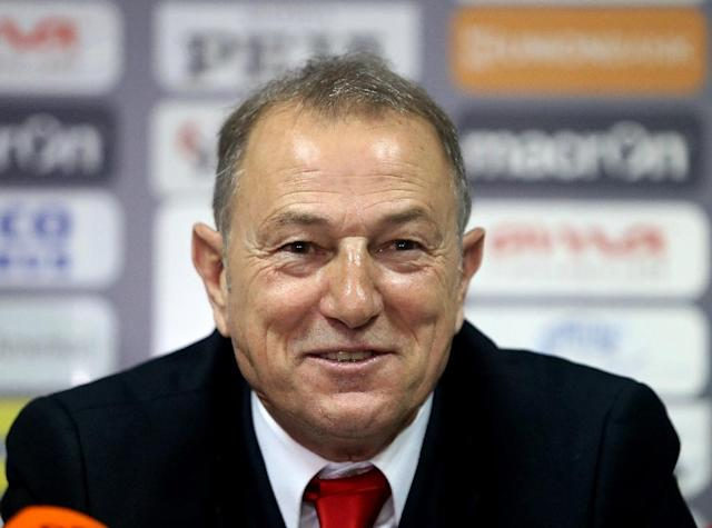 Albania's football team coach Gianni de Biasi during a press conference in Tirana on May 21, 2016 (AFP Photo/Gent Shkullaku)