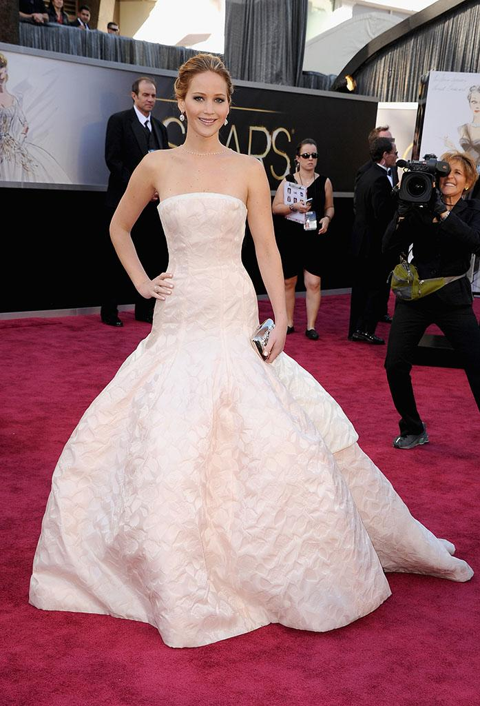 Jennifer Lawrence arrives at the Oscars in Hollywood, California, on February 24, 2013.