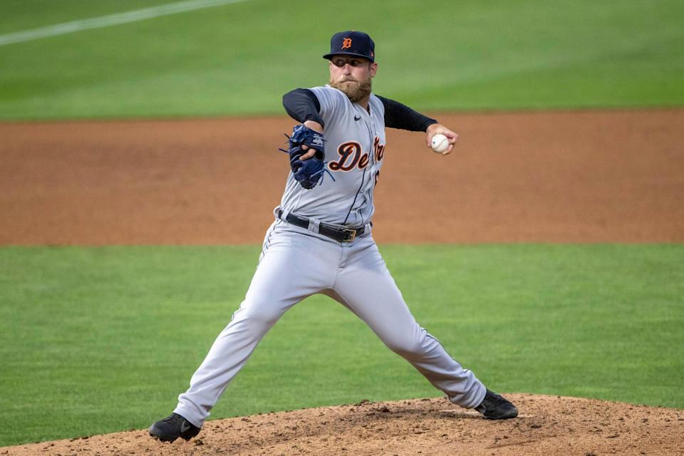 Tigers pitcher Ian Krol delivers a pitch in the sixth inning of the Tigers' 4-2 loss to the Twins on Friday, July 9, 2021.