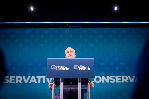 Conservative Leader Erin O'Toole addresses supporters at an election night event at the Tribute Communities Centre, in Oshawa, Ont., in the early hours of Sept. 21, 2021. (Evan Mitsui/CBC - image credit)