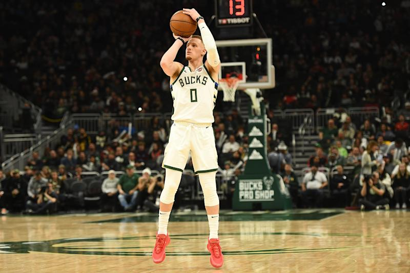 Donte DiVincenzo #0 of the Milwaukee Bucks