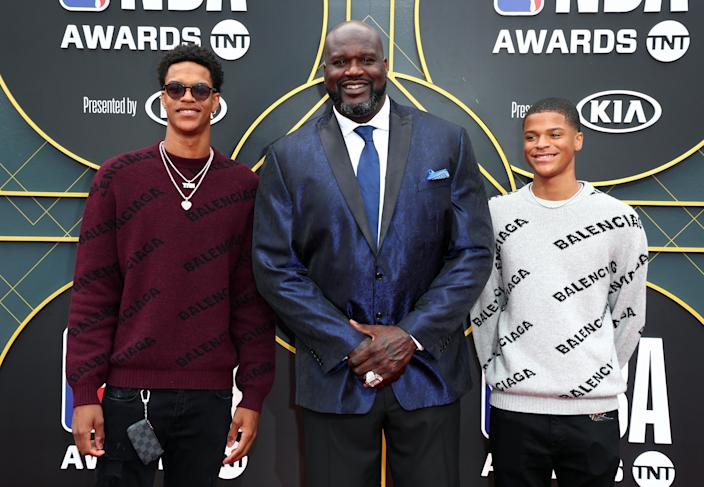 Shareef O'Neal, Shaquille O'Neal, and Shaqir O'Neal attend the 2019 NBA Awards presented by Kia on TNT at Barker Hangar on June 24, 2019 in Santa Monica, California. (Photo by Joe Scarnici/Getty Images for Turner Sports)